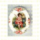 VICTORIAN ANGEL CHERUB ROSE FORGET ME NOT* UNSET PORCELAIN CAMEO CAB