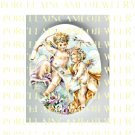 2 VICTORIAN ANGEL CHERUB  ROSE PANSY* UNSET PORCELAIN CAMEO CABOCHON