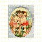 2 VICTORIAN KISSING ANGEL CHERUB CUPID VALENTINE HEART  PORCELAIN CAMEO CAB
