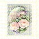 VICTORIAN VINTAGE PINK ROSE FLOWER * UNSET PORCELAIN CAMEO CAB