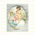 VICTORIAN EASTER ANGEL CHERUB CHICKEN BABY EGG * UNSET PORCELAIN CAMEO CAB