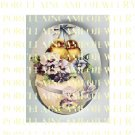 VICTORIAN EASTER 2 BABY CHICKEN PANSY EGG * UNSET PORCELAIN CAMEO CAB