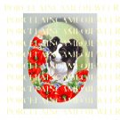 BORDER COLLIE DOG VINTAGE POPPY * UNSET PORCELAIN CAMEO CAB