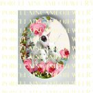 3 BULL TERRIER DOG MOM PUPPY VICTORIAN ROSE * UNSET PORCELAIN CAMEO CAB