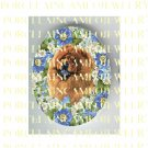 CHOW CHOW DOG FORGET ME NOT ROSE * UNSET PORCELAIN CAMEO CAB