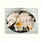 CREAMY WHITE ORCHID FLOWER* UNSET PORCELAIN CAMEO CAB