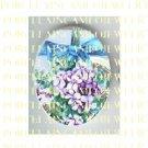VICTORIAN VINTAGE PURPLE VIOLET FLOWER WITH RIBBON  * UNSET PORCELAIN CAMEO CAB