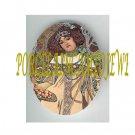ART NOUVEAU ALPHONSE MUCHA FLOWER LADY PORCELAIN CAMEO CAB 61-20