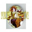 ART NOUVEAU ALPHONSE MUCHA FLOWER LADY PORCELAIN CAMEO CAB 61-16
