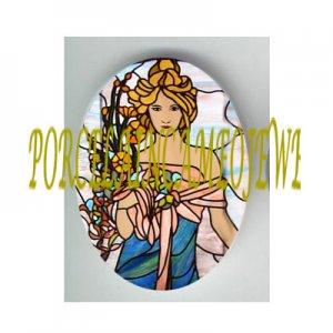 ART NOUVEAU ALPHONSE MUCHA FLOWER LADY PORCELAIN CAMEO CAB 61-15