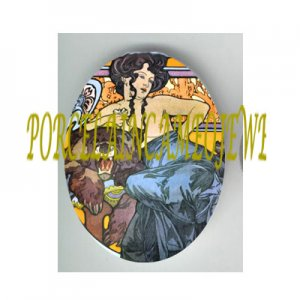 ART NOUVEAU ALPHONSE MUCHA  LADY WITH BEAR PORCELAIN CAMEO CAB 61-7