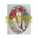 ART NOUVEAU ALPHONSE MUCHA  POPPY FLOWER LADY WIH DOVE BIRD PORCELAIN CAMEO CAB 61-3