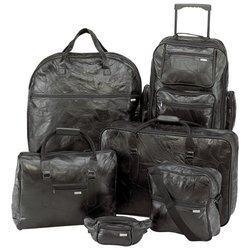 Embassy� 6pc Italian Stone� Design Genuine Leather Luggage Set
