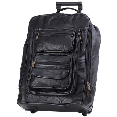 "Embassy� 21"" Black Hand-Sewn Pebble Grain Genuine Leather Trolley Case"