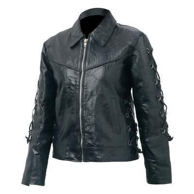 Giovanni Navarre® Ladies' Hand-Sewn Pebble Grain Genuine Buffalo Leather Jacket