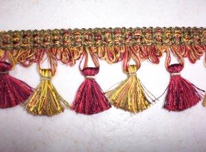 11805 Tassel Fringe, Red Green Gold- Riches-18.95-FS