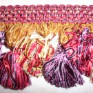 Ribbon Tassel Fringe Red Purple Gold, 29.95per yard