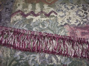"20"" Old World Tapestry Fabric Handmade Pillow Fringe Choice 86.51-FS"