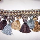 1479-11/06 Tassel Fringe Blue, Brown, Gold