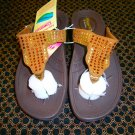 Skechers Flip Flop Sandals, US 7, Brown with Rhinestones.