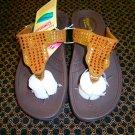 Skechers Flip Flop Sandals, US 7, Brown with Rhinestones.