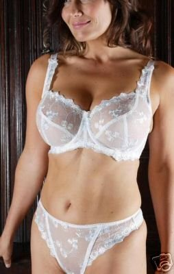 40hh ivory underwired lace bra thong set with blue embroidery new with tags