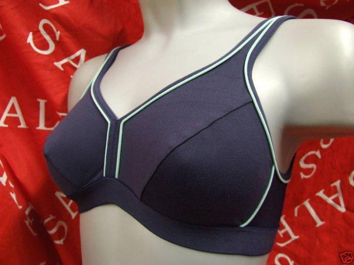 38c navy blue ex brand high impact shock absorber style sports bra