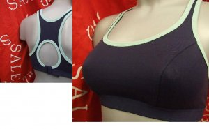 34a navy ex brand medium impact sports bra crop top shock absorber style