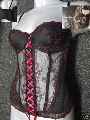 36c marks & spencer truly you padded black & red basque with original sales display tags