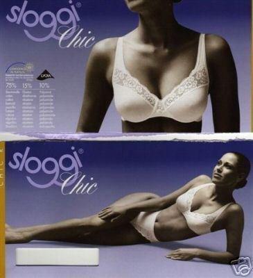 sloggi chic 38c white cotton underwired lace bra bnwt