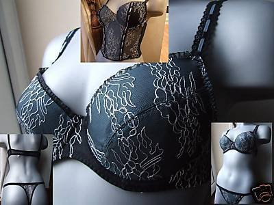 32b body one black mint embroidered padded push up bra