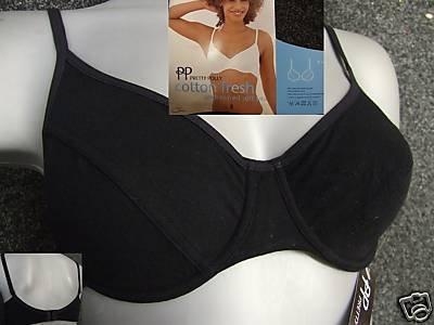 38b black pretty polly cotton underwired soft bra bnwt