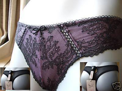 young attitude lace thong black & lilac medium bnwt