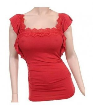 Medium Size Sexy Red Lace Top for Young Ladies