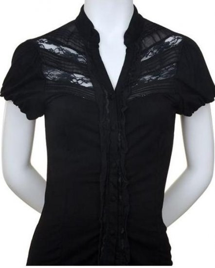 Medium Size Black Lace and Ruffle Blouse for Ladies