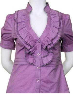 Small Size Lilac Purple Ruffle Blouse with Sleeves for Junior Women