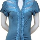 Large Size Light Blue Lace and Ruffle Top for Women