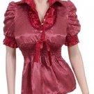 Medium Size, Ladies Red Blouse with Mini White Polka Dots