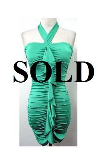 Medium Size Sea Green Halter Ruffle  Dress