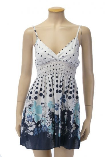 Large Size, Blue Flower Babydoll Summer Dress for Junior Women
