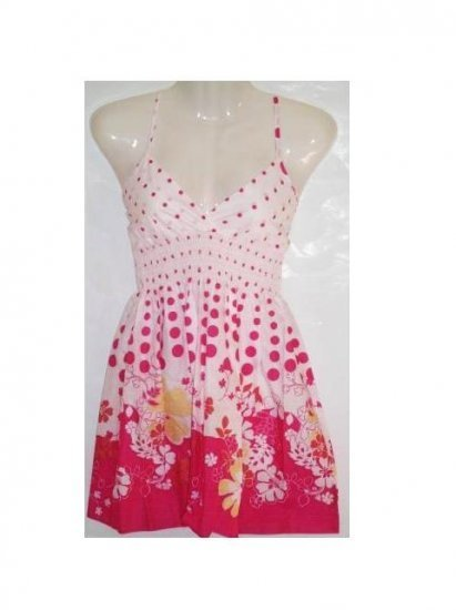 Small Size, Pink Flower Babydoll Dress for Juniors