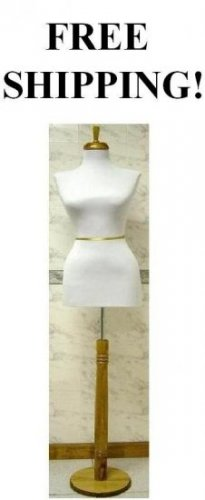 WHITE color Female Dress Form Mannequin Display with Natural Wood Stand, WHITE color