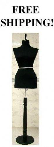 BLACK color Female Dress Form Mannequin Display with Black Wooden Stand, BLACK color
