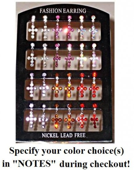 Cubic Zircon Cross Earrings, specify your color(s) during checkout