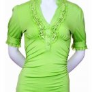 Small Size Lime Green Ruffle Shirt For Junior Women