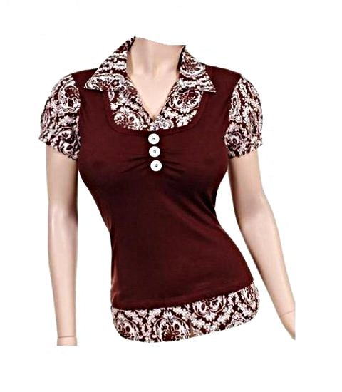 Small Size Women's Chocolate Brown Printed Top with Collar