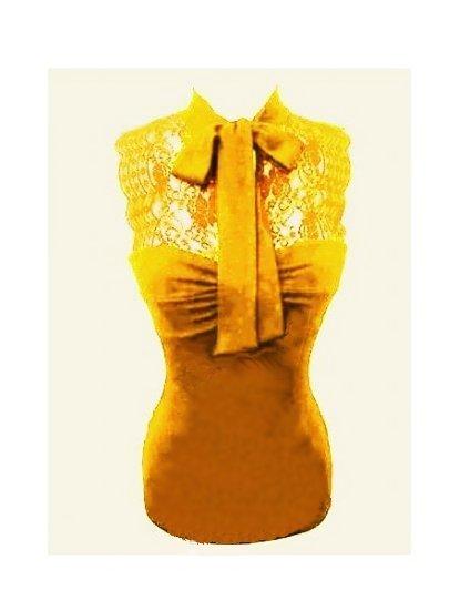 Medium Size Juniors Sexy Vintage Yellow Lace Tank Top