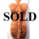 Medium Size Trendy Orange Halter Ruffle Dress