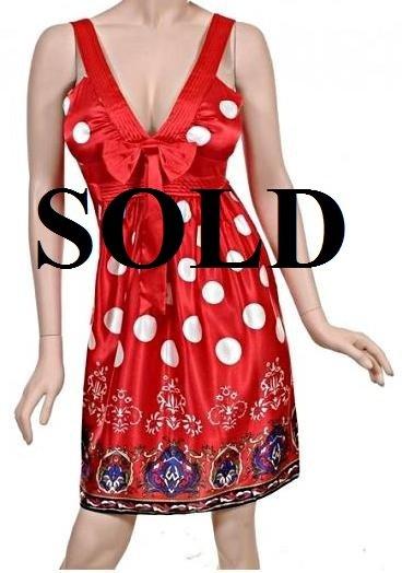 Medium Size Trendy Red Polka Dot Sleeveless Dress