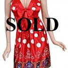 Medium Size Trendy Red Polka Dot Sleeveless Dress